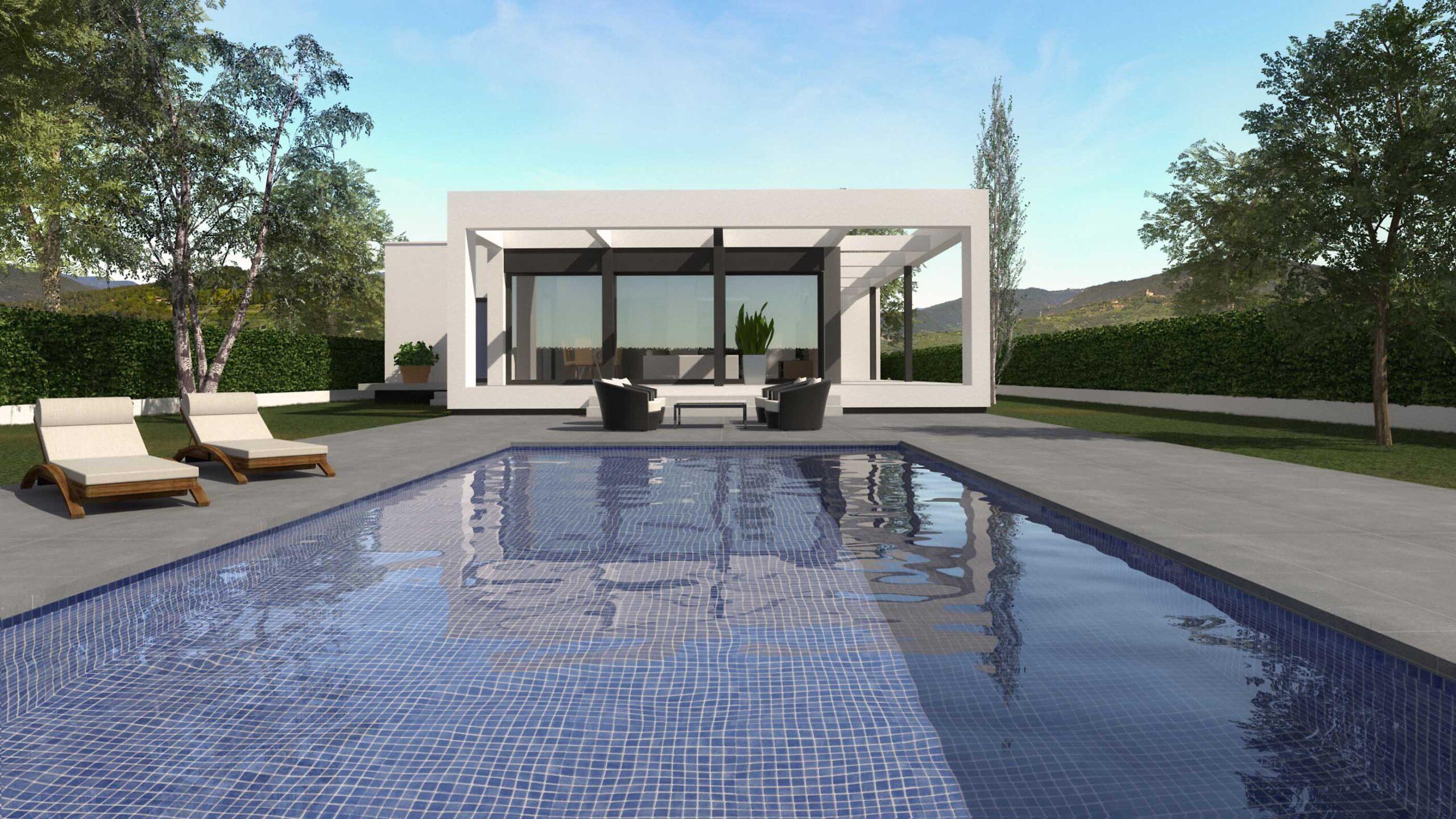 Render Casa amb piscina. anbimedia3d