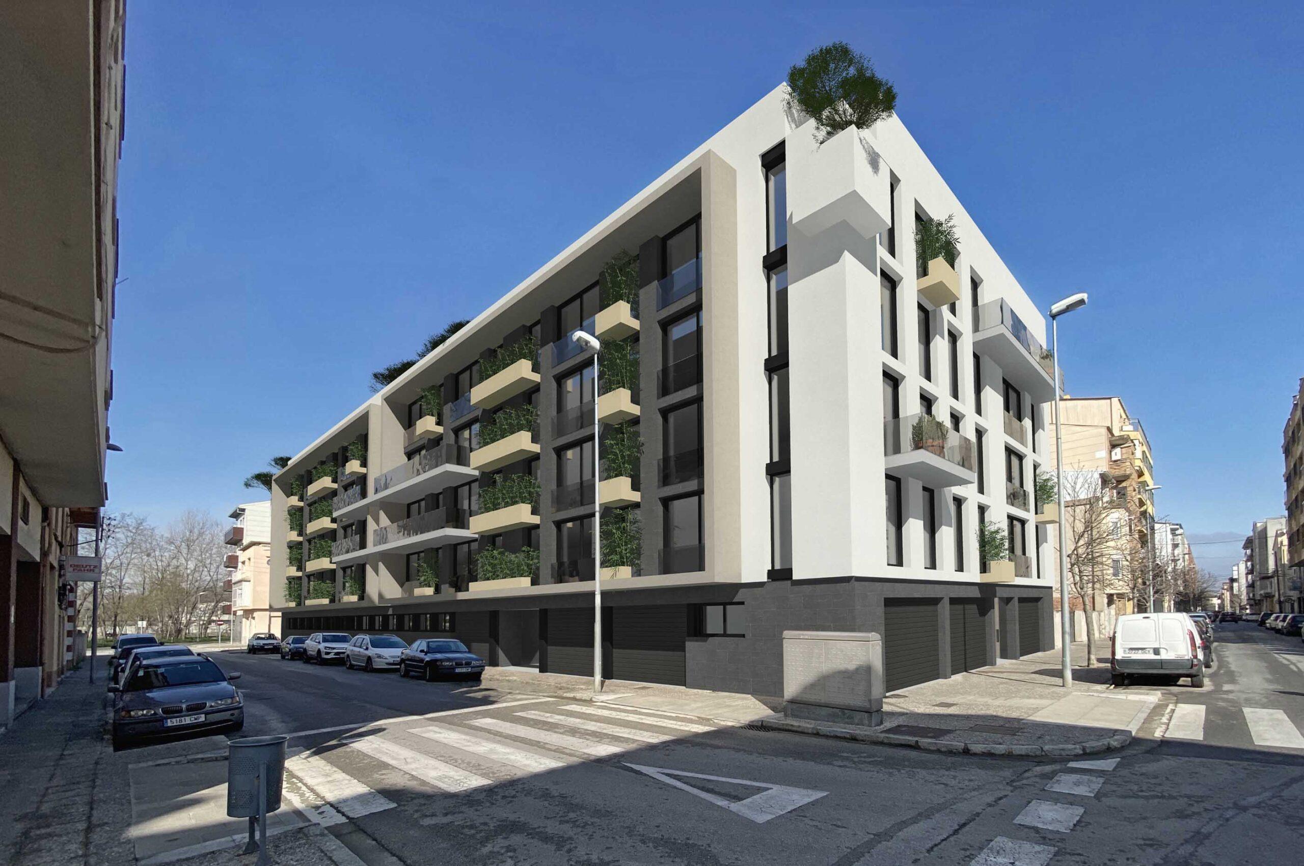 Render edifici exterior Girona. anbimedia3d